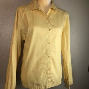Eileen Fisher Yellow Cotton Button Down Blouse L